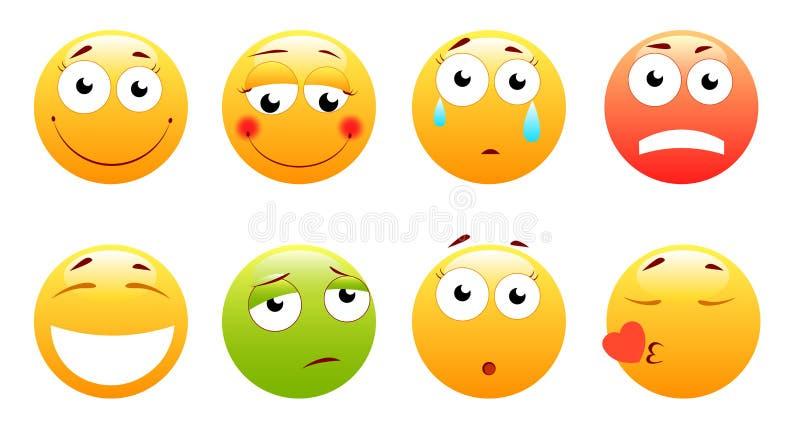 Smileys wektoru set Smiley twarzy, koloru żółtego emoticons z lub lubią szczęśliwy, krzyczący, wprawiać w zakłopotanie ilustracji