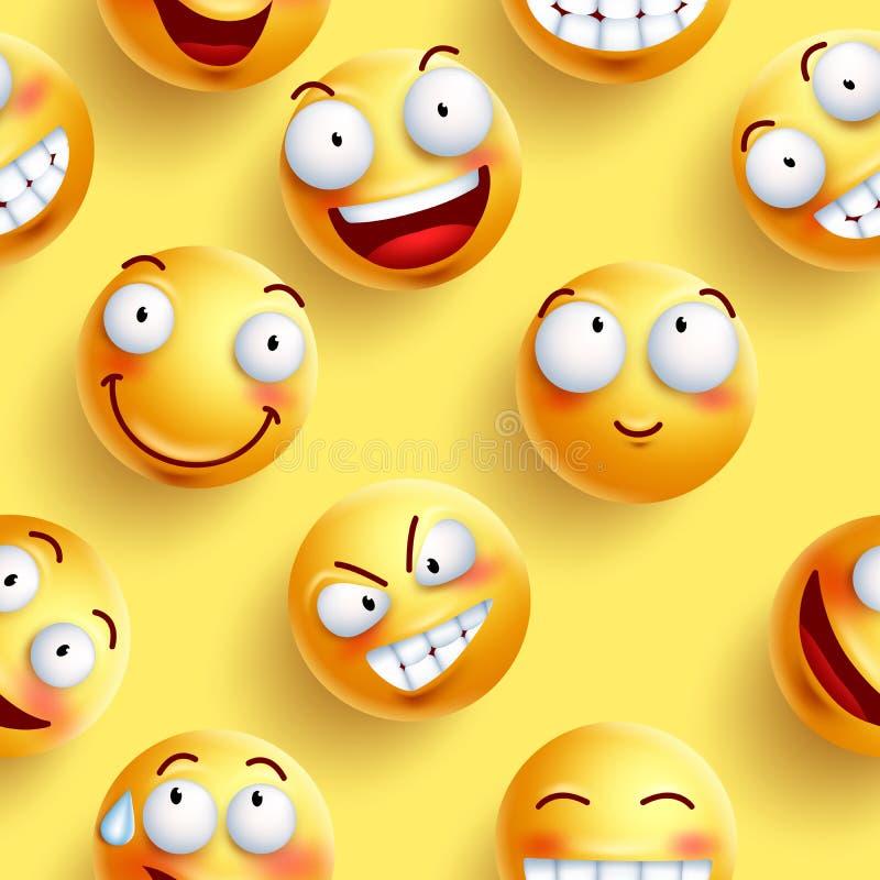 Smileys wektoru tapetowy bezszwowy wzór w żółtym kolorze z ciągłymi szczęśliwymi twarzami ilustracji