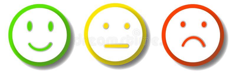 3 smileys wyraża różne emocje ilustracja wektor