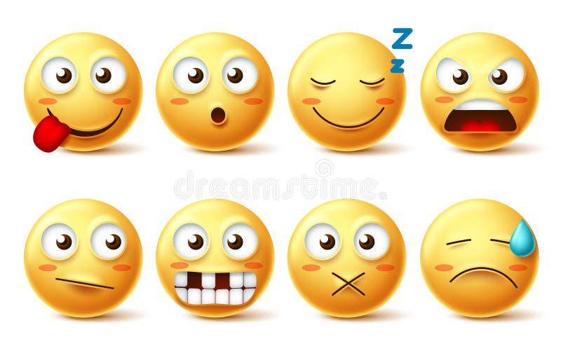 Smileysvector met grappige gelaatsuitdrukkingen wordt geplaatst die Lachebekje leuke emoticons met slaperig, tandenloos, boos en  vector illustratie