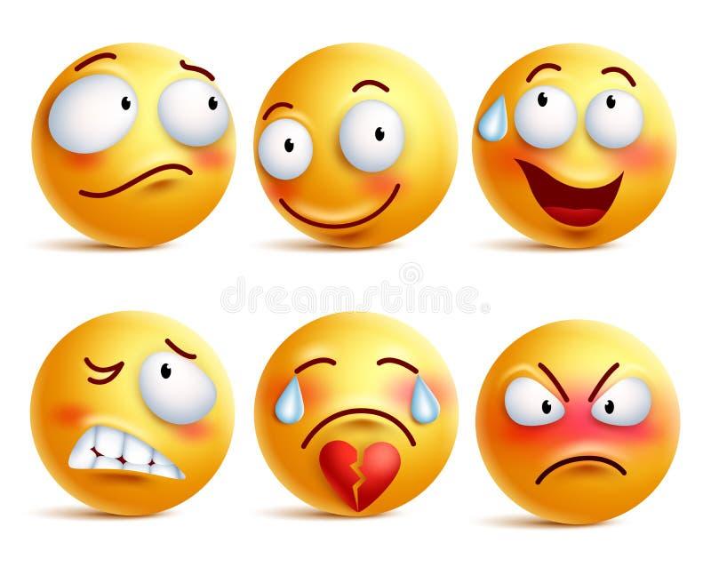 Smileysvektoruppsättning Smileyframsida- eller gulingemoticons med ansiktsuttryck stock illustrationer
