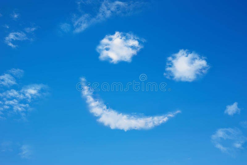 Smilie from cloud in the blue sky. Smilie from cloud in the sky stock photography
