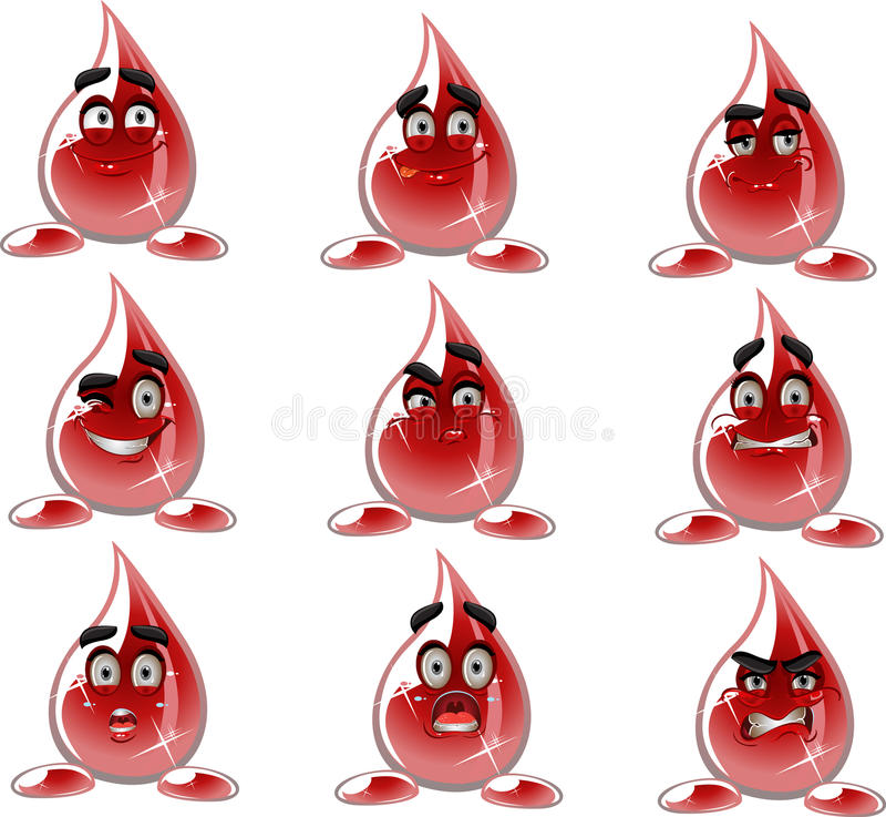 Smilies drop of blood - different moods vector illustration
