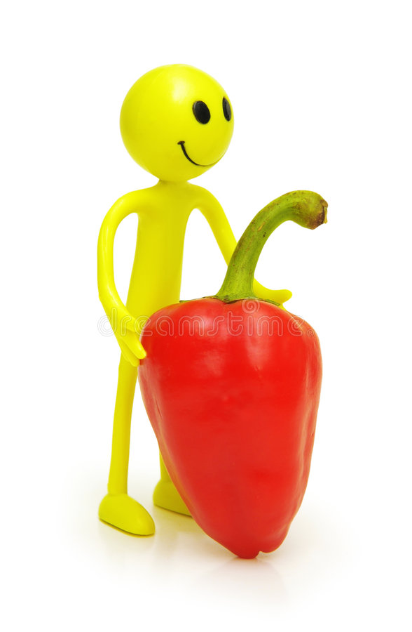 Smilies with red bell pepper royalty free stock image