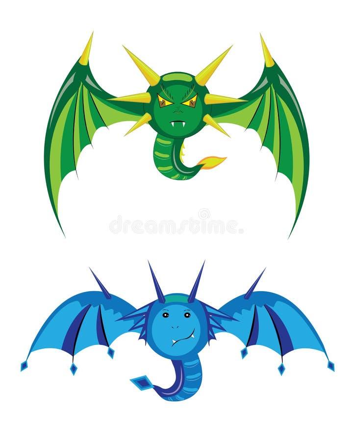 Smilies verde y azul de los dragones. fotos de archivo libres de regalías