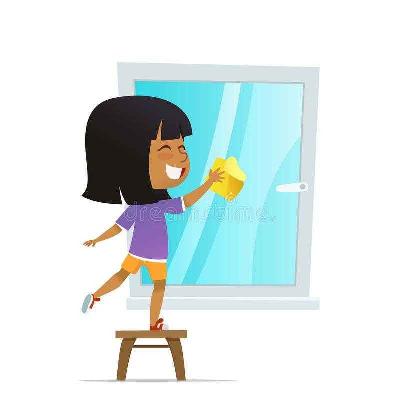 Smilind dziewczyny płuczkowy okno, pojęcie angażuje edukacyjne aktywność Montessori obcy kreskówki kota ucieczek ilustraci dachu  royalty ilustracja