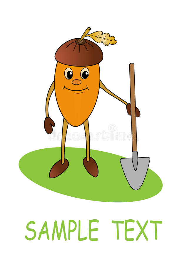 Download Smiling acorn with shovel stock vector. Illustration of green - 12487095