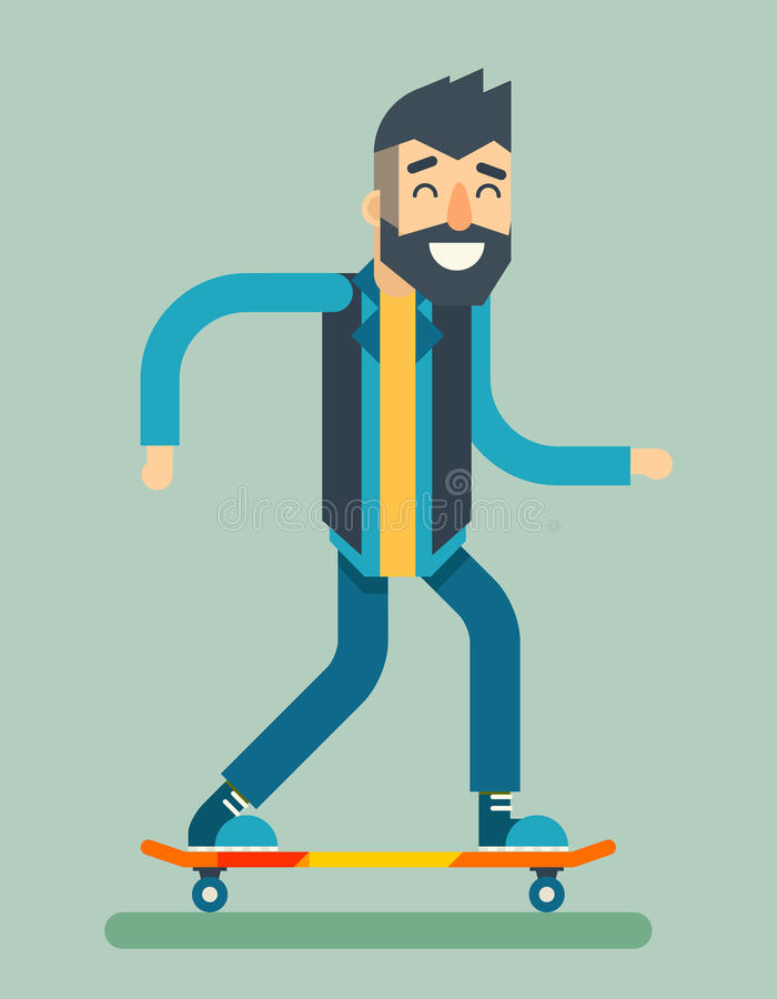 Smiling Adult Man Geek Scooter Happy Hipster Character Ride Skateboard Icon Symbol Stylish Background Flat Design stock illustration