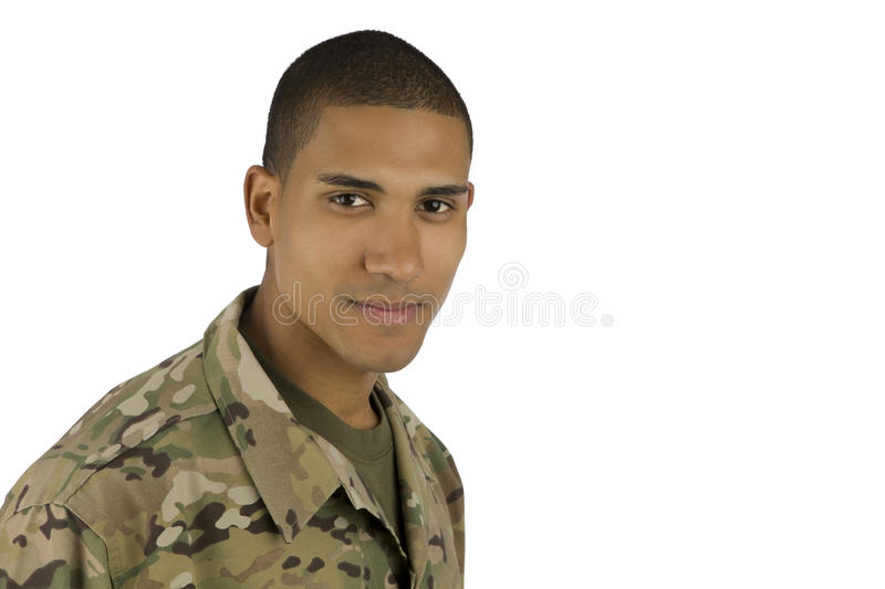 Smiling African American Military Man stock images