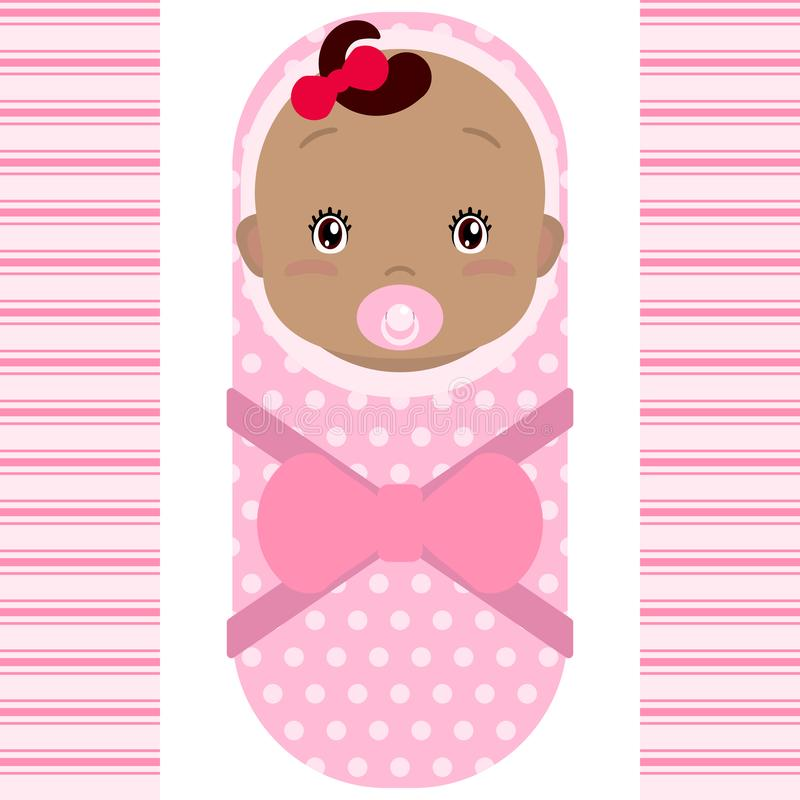 Smiling african baby girl with pacifier  on white background. Vector cartoon mascot. Holiday illustration to Birthday, royalty free illustration