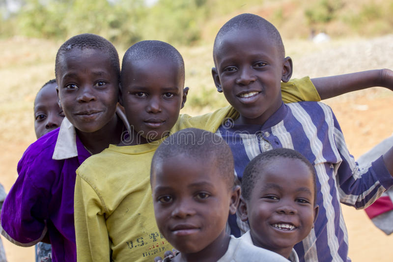 Smiling African kids from Uganda royalty free stock photography