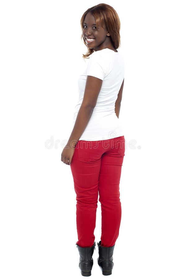 Download Smiling African Lady In Boots Turning Back Stock Image - Image: 26509781
