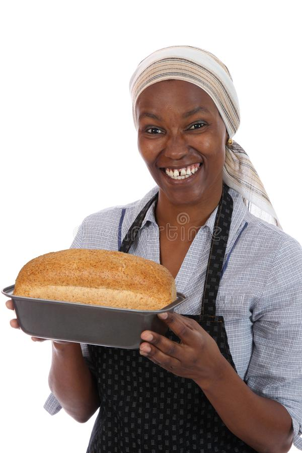 Smiling African Lady with Bread stock photos