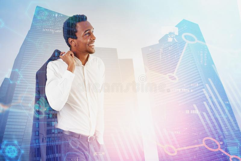 Smiling African man in city, digital graph stock images