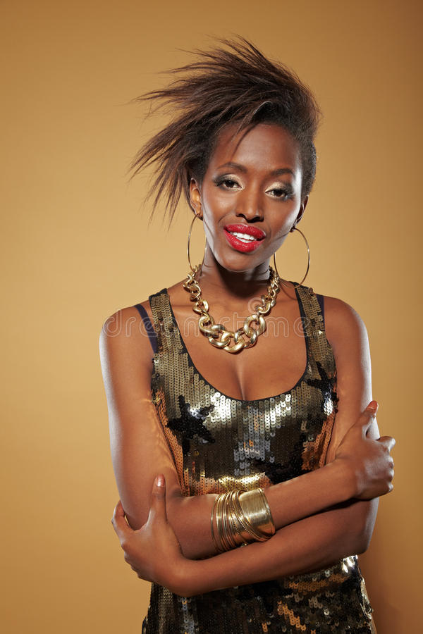 Download Smiling African Woman With Arms Stock Photo - Image: 22127024
