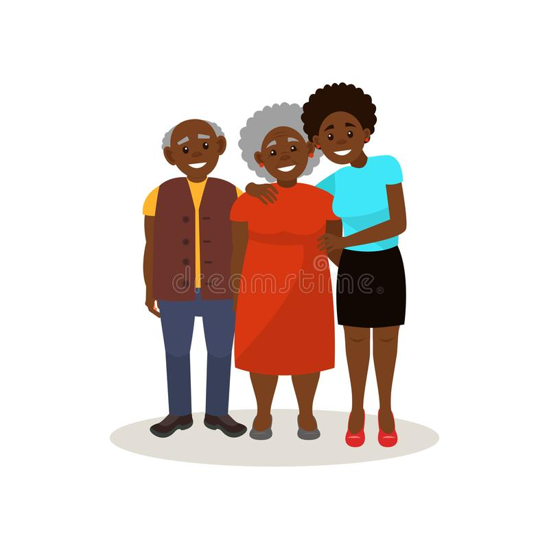 Smiling Afro American black elderly couple and their adult daughter posing together, happy family concept vector. Illustration isolated on a white background vector illustration