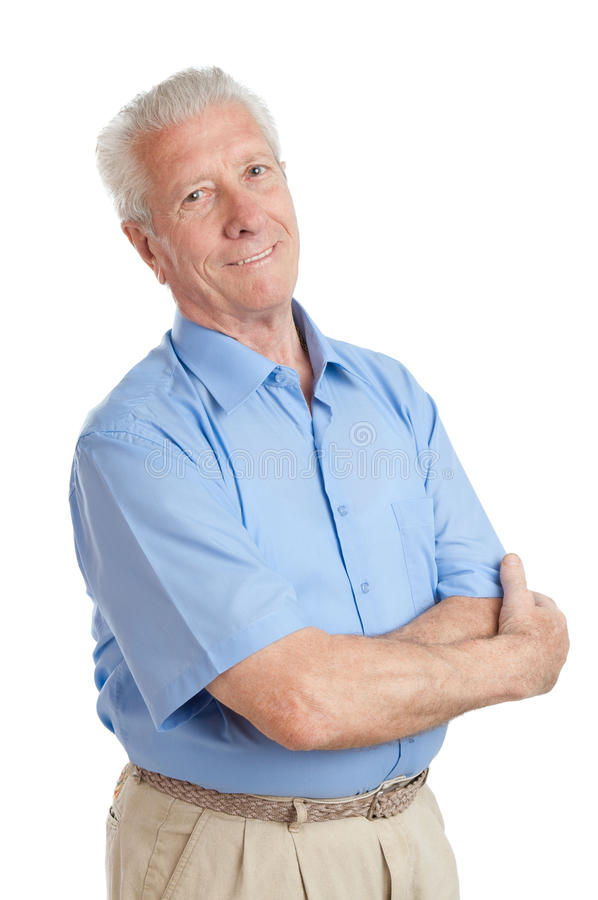 Smiling aged senior man stock photography
