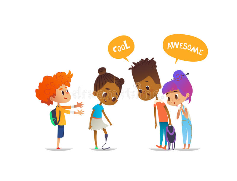 Smiling amputee girl demonstrates her new prosthetic leg to classmates, children are amazed and impressed. Concept of. School friendship and inclusion. Vector vector illustration