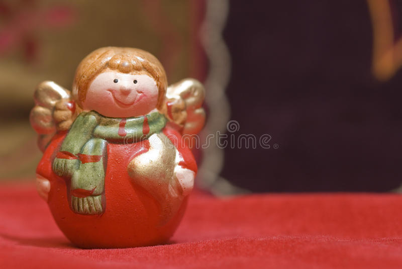 Smiling angel figurine Christmas stock photos