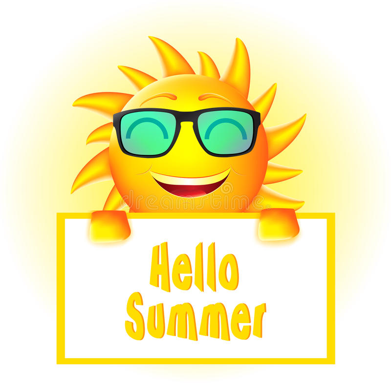 Smiling Animated Sun with Sun Glasses Holding Hello Summer Sign royalty free illustration