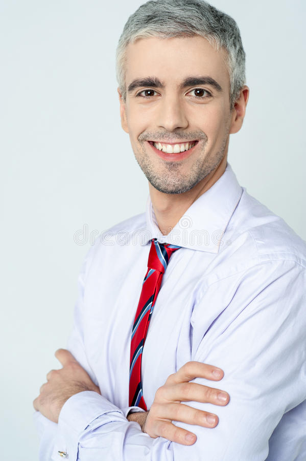 Download Smiling Arms Crossed Senior Businessman Stock Image - Image of ambitious, company: 38710701