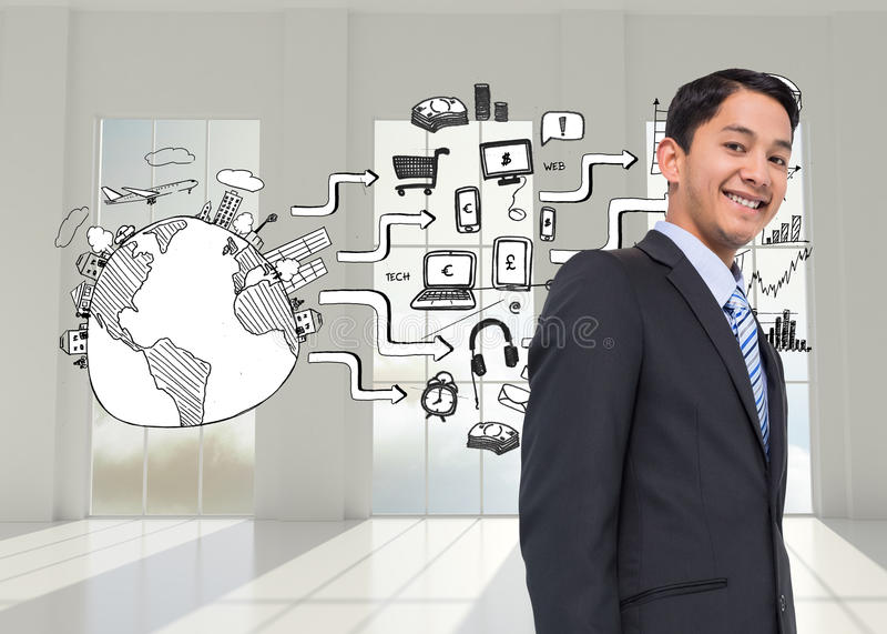Smiling asian businessman. Composite image of smiling asian businessman stock photography