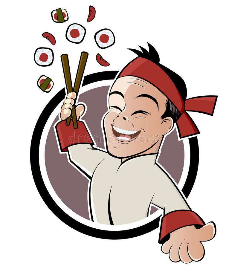 Cartoon sushi man. Smiling Asian cartoon man with sushi and chopsticks isolated on white royalty free illustration