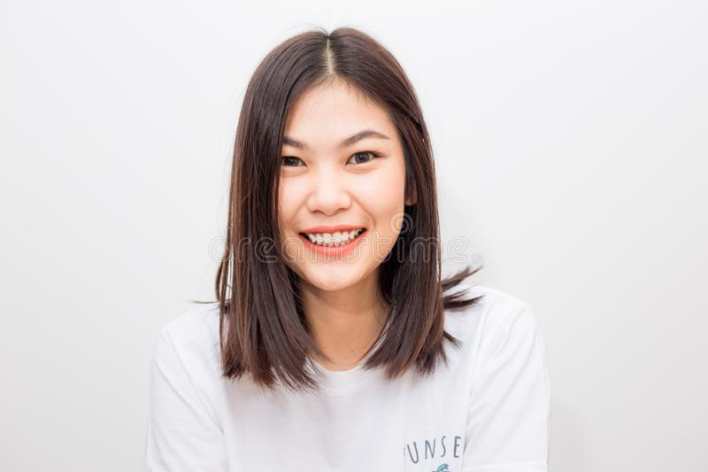 Smiling asian cute women heathy life concept royalty free stock image