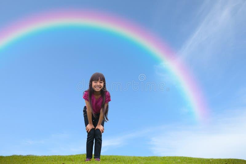 Download Smiling Asian Little Girl Standing On Green Grass Under The Rain Stock Illustration - Illustration: 29099279