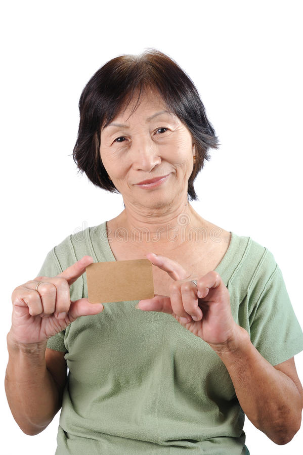 Download Smiling Asian Seniorwoman Holding Blank Empty Business Card Isol Stock Photo - Image: 34594954