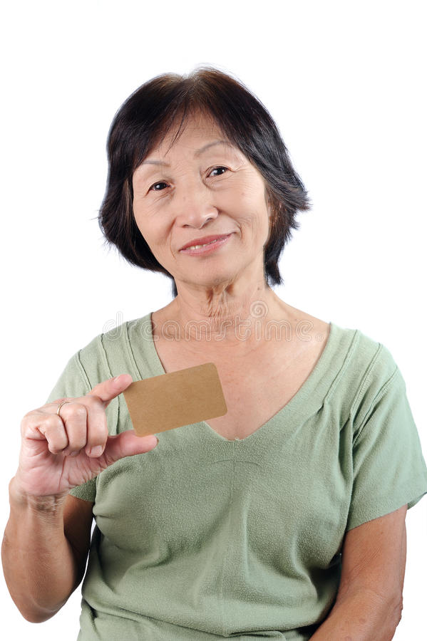 Download Smiling Asian Seniorwoman Holding Blank Empty Business Card Isol Stock Image - Image: 34595019