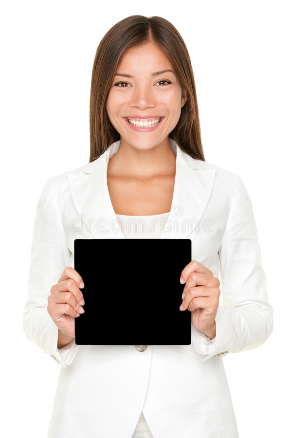 Download Smiling Asian Woman With Black Card Stock Image - Image: 28039353