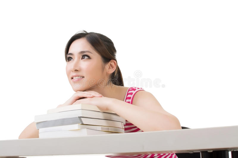 Download Smiling Asian Woman With Books Stock Photo - Image: 41297696