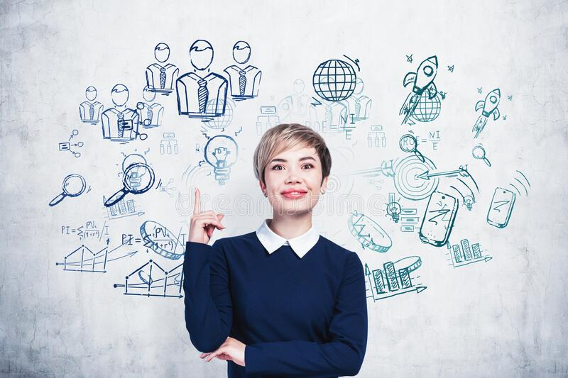 Smiling Asian woman and her business strategy stock image