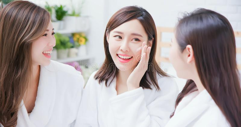 Asian women about skin care royalty free stock photography