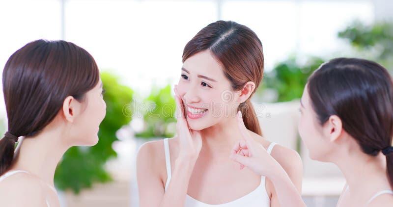 Skin care asian women friend stock image