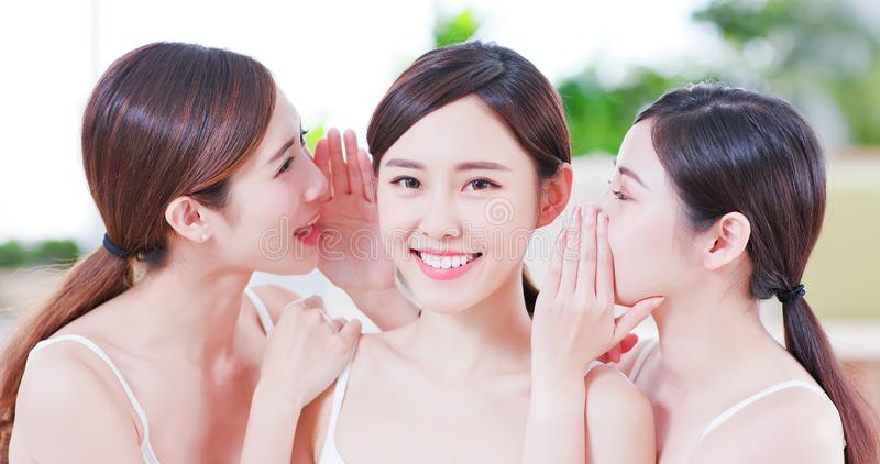Skin care asian women friend royalty free stock images