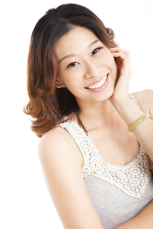 Smiling asian young woman stock photos