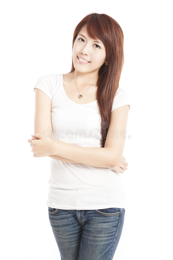 Smiling asian young woman stock photo