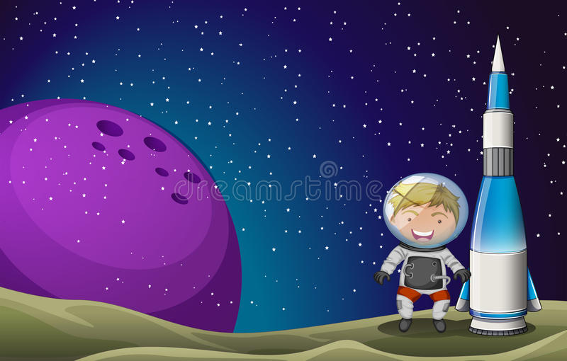 A smiling astronaut beside the rocket vector illustration