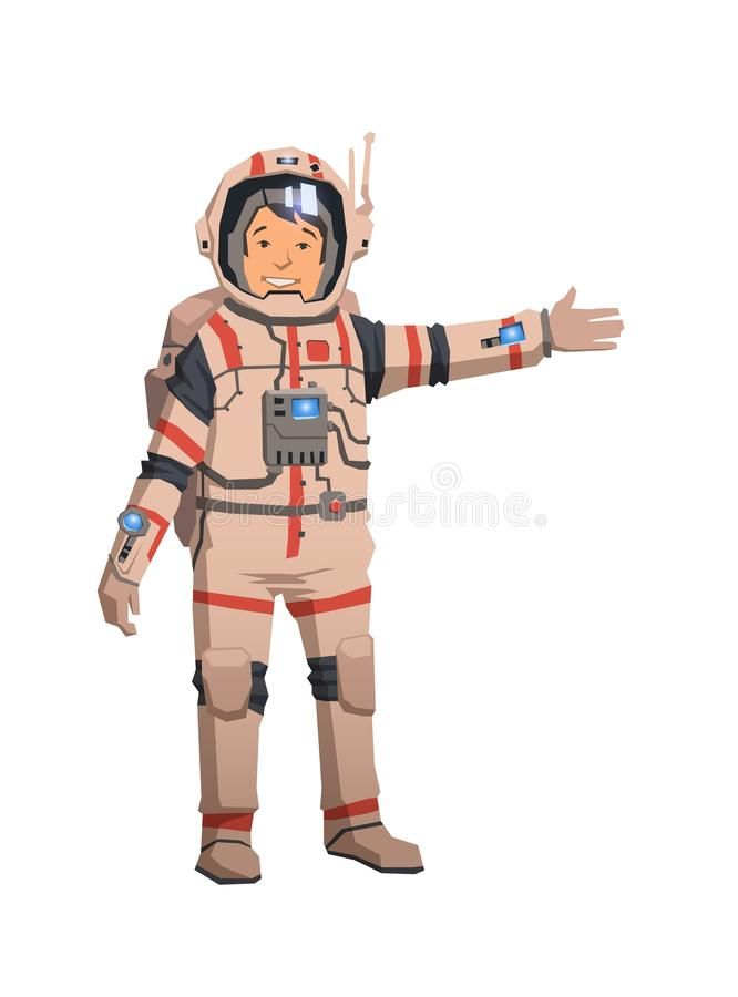 Astronaut in space suit pointing out. Flat vector illustration. Isolated on white background. royalty free illustration
