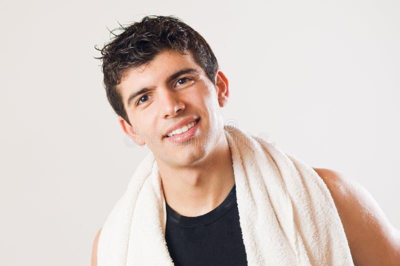 Smiling athletic man stock image