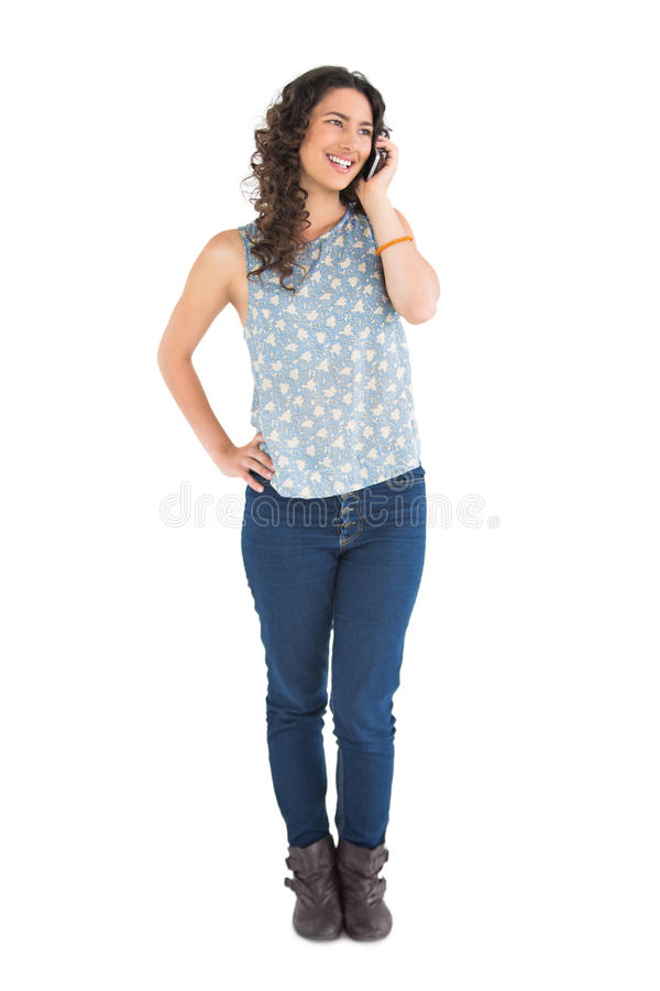 Download Smiling Attractive Brunette Having Phone Call Stock Photo - Image: 33107806
