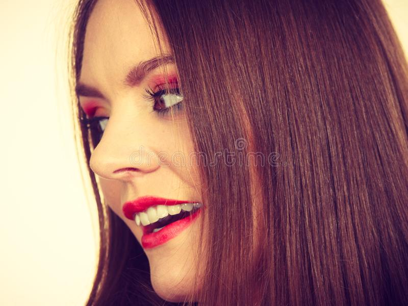 Smiling attractive woman with full makeup royalty free stock photos