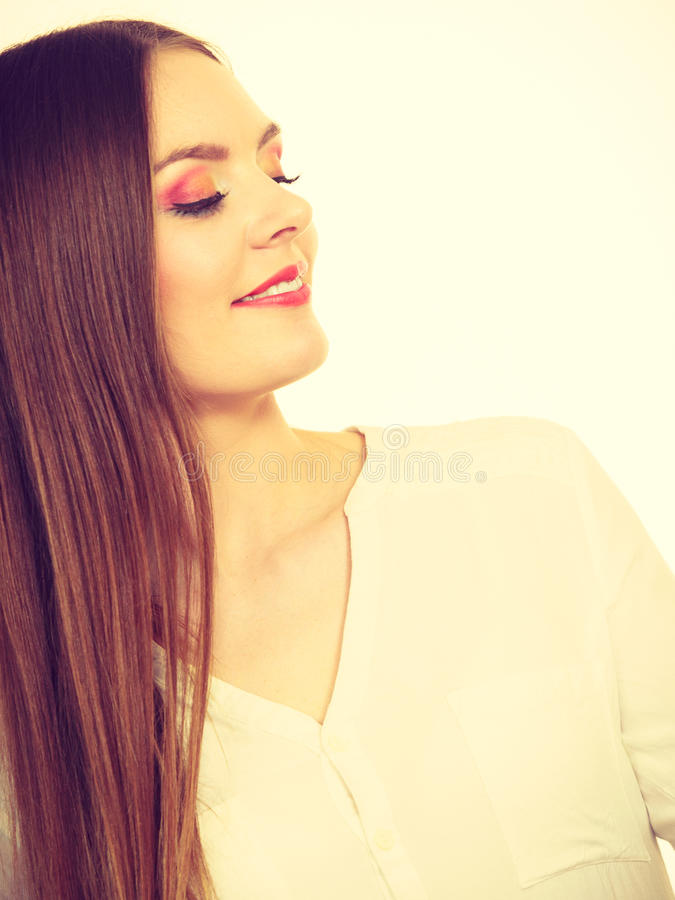 Smiling attractive woman with full makeup royalty free stock images