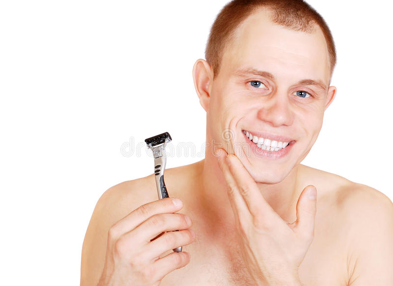 Smiling Attractive Young Man After Shave Royalty Free Stock Images