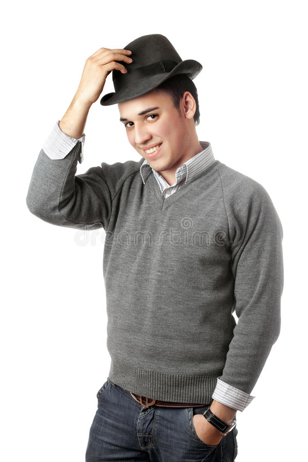 Download Smiling Attractive Young Man Wearing Black Hat Royalty Free Stock Photography - Image: 17492727