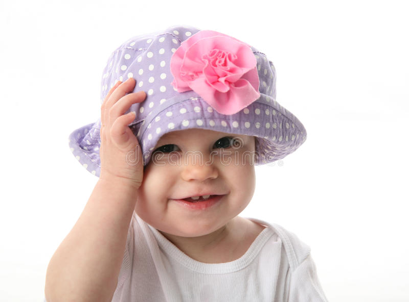 Download Smiling baby with hat stock photo. Image of flower, laugh - 17508618