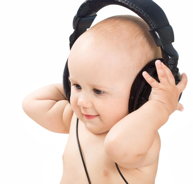 Download Smiling Baby With Headphone Stock Photo - Image: 15729892