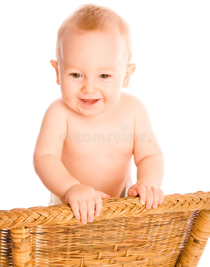 Download Smiling baby looks dawn stock photo. Image of playpen - 12942782